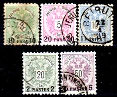 Levante-Austriaco-37 - 1888 - Y&T N. 15/19 (o) - Senza Difetti Occulti. - Oriente Austriaco