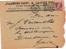 Brief Met Postzegel 74. Briefomslag Van Vlaamsche Gazet - Laatste Nieuws. J. Hoste. - Entiers Postaux