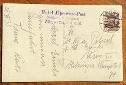 MONTAGNA  RIFUGI  CARTOLINA DA  ZURS HOTEL ALPENROSE - POST  CON TIMBRO HOTEL   1935 - 1879-08 Principato