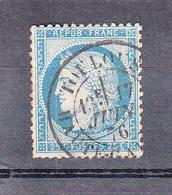 CERES IIIeme Republique 1871-75 25c Bleu Dallay Num 59 Avec  Cachet A Date De TOULOUSE  Hte Gar Le 17 Juin 1876 - 1871-1875 Ceres