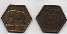 + CONGO BELGE  + 2 FRANCS 1943 + VERY FINE + - Congo (Belgian) & Ruanda-Urundi