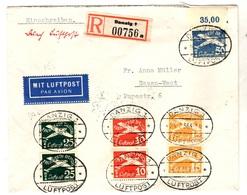 Dantzig Superbe Lettre Recommandée Poste Aérienne De 1936. B/TB. A Saisir! - Danzig