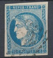N°45 VARIETE BULLE AU FRONT ET POINTS BLANCS - 1870 Bordeaux Printing