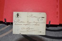 LETTRE POUR LYON DATÉE  2 AOUT 1765  CACHET DE CIRE DEPART DE LIMOGES - Postmark Collection (Covers)