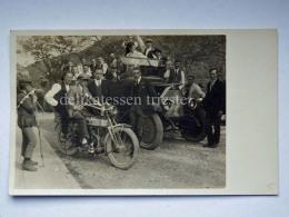 TRIESTE BAGNOLI DELLA ROSANDRA Moto Motocicletta Auto Car Vecchia Cartolina Fotografica - Trieste