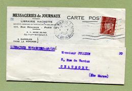 """Perforé """" M.H. """" : """" MESSAGERIE HACHETTE """"  Sur Pétain 1942 - France"""