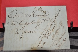 LETTRE DE LIMOGES DU 27 NIVOSE AN 7 ADRESSÉE AU MINISTRE DE LA POLICE  A PARIS ; DETAILS - Postmark Collection (Covers)
