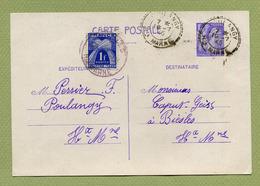 """Ir C1 : """" POULANGY """"  Obl. Facteur Boitier 1945 + Taxe - Entiers Postaux"""