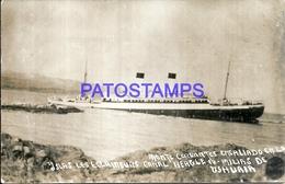 91318 ARGENTINA USHUAIA TIERRA DEL FUEGO MONTE CERVANTES ENCALLADO EN LA ISLAS LES ECLAIREURS CANAL BEAGLE SHIP POSTCARD - Argentine