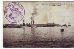 Cpa Villefranche  L'escadre Et La Rade (cachet Militaire) - Villefranche-sur-Mer