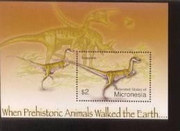 MICRONESIA  620 MINT NEVER HINGED SOUVENIR SHEET OF DINOSAURS   #   314-6 ( - Prehistorics
