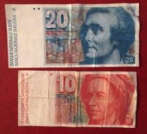 Deux Billets 10 Et 20 Francs Suisses - Suisse
