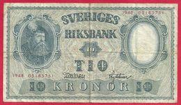 Suède, 10 Tio, 1948, TB- - Suède