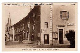 CPSM Noirétable Loire 42 Place De La Mairie Eglise Paneau Directionel Lyon Boën Thiers éditeur E Jousse - Noiretable