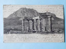 Grèce 1906 Corinthe  Temple De Minerve Et Acrocorinthe & 6 Timbres - Grèce