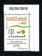2018- Tunisie- 50ème Anniversaire De La Création De La Cour Des Comptes- Emission Complète 1v.MNH**Coin Daté - Tunisia