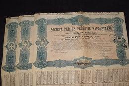 3 Actions Société Ferroviaire Napolitaine Società Per Le Ferrovie Napoletane Italie Complet (1) - Railway & Tramway