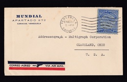 Venezuela: Airmail Cover To USA, 1 Stamp, Airplane, Map, Air Label PAA, PanAm, Pan American Airways (traces Of Use) - Venezuela
