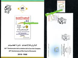 2018- Tunisia- 50th Anniversary Of The Court Of Accounts- Flyer+ FDC+Complete Set 1v.MNH** - Tunisia