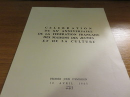 Document Sur Velin Edition Limitée En 1000 Ex Timbre 20° Anniversaire De La Fédération Française Des M.J.C Yvert N°1448 - FDC