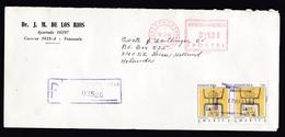 Venezuela: Registered Cover To Netherlands, 1993, 2 Stamps, Meter Cancel, Art, Play Card (traces Of Use) - Venezuela