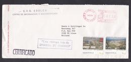 Venezuela: Cover To Netherlands, 1994, 2 Stamps, Meter Cancel, Factory, Cancel Slogan Ipostel (traces Of Use) - Venezuela