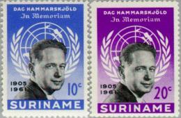 Suriname 1962 Dag Hammarskjold NVPH 376-377 - MNH** Postfris - Suriname ... - 1975