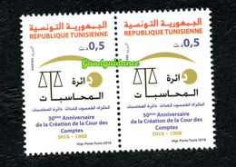 2018- Tunisia- 50th Anniversary Of The Court Of Accounts- Pair Of Complete Set 1v.MNH** - Tunisia