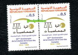 2018- Tunisie- 50ème Anniversaire De La Création De La Cour Des Comptes- Paire- Emission Complète 1v.MNH** - Tunisia