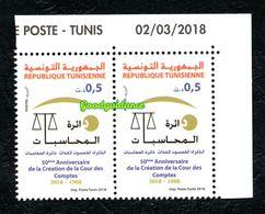 2018- Tunisie- 50ème Anniversaire De La Création De La Cour Des Comptes- Paire- 1v.MNH** Coin Daté - Tunisia