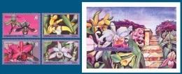 Azerbaïjan 1995 Mih. 249/52 + 253 (Bl.16) Flowers. Orchids MNH ** - Azerbaïjan