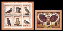 Azerbaïjan 2001 Mih. 504/10 (Bl.48/49) Fauna. Birds. Owls MNH ** - Azerbaïjan