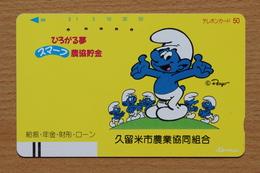 Japon Japan Free Front Bar, Balken Phonecard - 330-7098 / Smurf Schlümpfe - BD