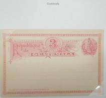 O) 1890 GUATEMALA, COAT OF ARMS - NATIONAL BIRD QUETZAL, POSTAL STATIONERY 3 CENTAVOS - UPU. XF - Guatemala
