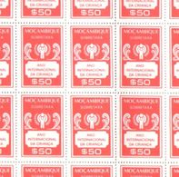 Mozambique 1979 Full Sheet International Year Of Child Tax Stamps MNH 0.50 Esc - Mozambique