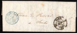 FRANCE - Lettre Sans Timbre Avec Oblitération De Paris 30 C.  Et 15 C. Du 20 Août 1855 - Marcophilie (Lettres)