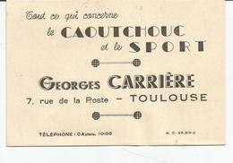Carte De Visite Concessionnaire Georges CARRIERE Toulouse (vers 1955) Le Caoutchouc Et Le Sport - Cartes De Visite