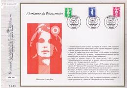 FEUILLET CEF TIRAGE LIMITE, MARIANNE DU BICENTENAIRE, 1996 - Philatélie & Monnaies