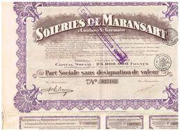 Ancienne Action - Soieries De Maransart à Couture St-Germain - Titre De 1928 TITRE N° 027183 - Industrie