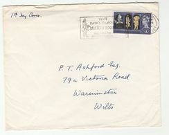 1964 GB FDC 3d SHAKESPEARE SLOGAN Pmk VISIT BATHS FAMOUS ASSEMBLY ROOMS Illus COSTUME , Theatre Stamps - FDC