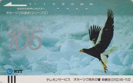 Télécarte Ancienne Japon / NTT 430-008 - OISEAU PYGARGUE DE STELLER / OKHOTSK - JAPAN Front Bar Phonecard / Arctique - Japan