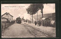 CPA Bourg-Bruche, Train Am La Gare Des Vogesenortes - France