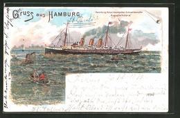 """Lithographie Schnelldampfer """"Auguste Victoria"""" Vor Hamburg, Glitzerperlen Auf Dem Wasser - Dampfer"""