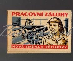67-109 CZECHOSLOVAKIA 1956 Women Turner Turning Machine Work Advances, New Workers Of The 2nd Five Years Propaganda - Matchbox Labels