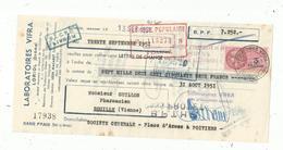 LETTRE DE CHANGE , 1951 , Laboratoires VIFRA ,LORIOL , Drôme , 2 Scans - Bills Of Exchange
