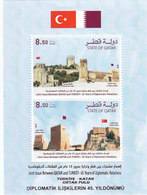 Qatar New Issue 2018, 45th Year Of Dipl Relations With Turket Issued Souv.sheet Only Compl.MNH-SKRILL PAY ONLY - Qatar