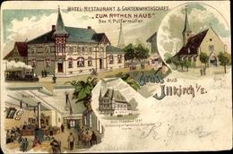 Lithographie Illkirch Graffenstaden Grafenstaden Elsass Bas Rhin, Hotel Zum Roten Haus,Inh. K. Pulfermüller - Frankreich