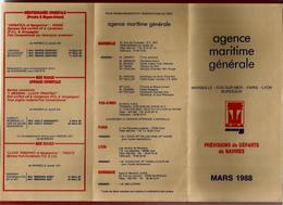 Agence Maritime Générale Marseille Fos Sur Mer Paris Lyon Bordeaux Horaires Départ Mars 1988 - Bateau Porte Container - Mondo