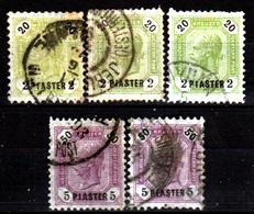 Levante-Austriaco-41 - 1891-96 - Y&T N. 28, 29 (o) -Differenti Bollature E Dentellatura - Senza Difetti Occulti. - Oriente Austriaco