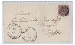 DANEMARK -- 1852 -- FIRE RBS -- LETTRE DE AALBORG POUR LOGSTOER --- - 1851-63 (Frederik VII)
